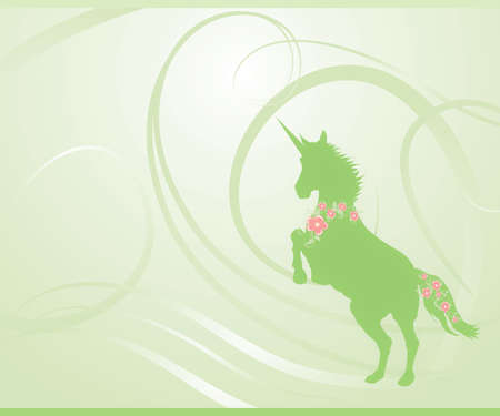 Unicorn rearing on fantasy green spring background. Mane and tail decorated with sakura (cherry) blossoms photo