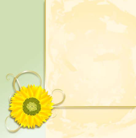 Sunflower Parchment Background Stock Photo