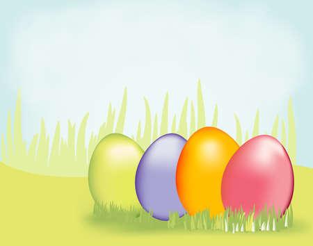 草の 4 つのカラフルなイースターの卵。この活気のある背景を持つあなたのイースターエッグ ハントを特色にします。