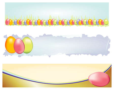 Three distinctive banners for easter. Colorful eggs decorate this selection of banners.