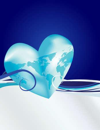 この青と銀の背景を持つ地球のあなたの愛を祝います。私のポートフォリオで類似画像。
