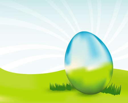 緑と青を卵します。地球の日、生態学および環境またはイースターを象徴する使用ことができます。