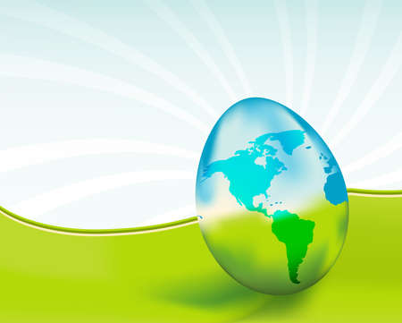 ガラス地球の卵は脆弱性と、環境を象徴します。このイメージと地球の日を祝います。私のポートフォリオでより類似画像。
