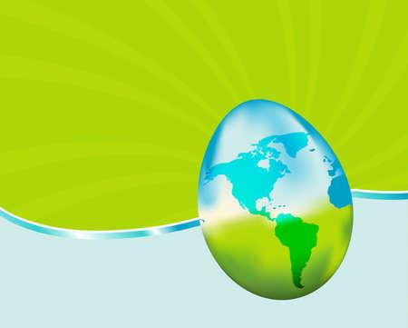 この活気のある背景を持つ地球の日を祝います。ガラス地球の卵を備えています。私のポートフォリオで類似画像。