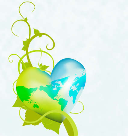 Illustrate a healthy environment with this heart shaped globe on a vine. Similar images in my portfolio.