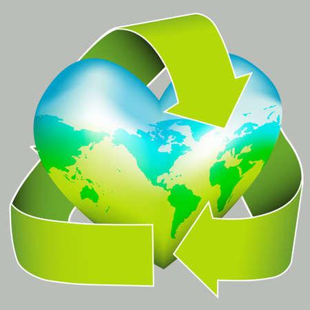 あなたの環境が大好きですか?このアイコンは、リサイクルのロゴに身を包んだ心に世界地図を示しています。環境キャンペーンに最適です。