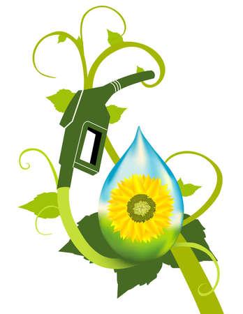 Een brandstof bio-ethanol fabriek met zonnebloem featured. Stockfoto