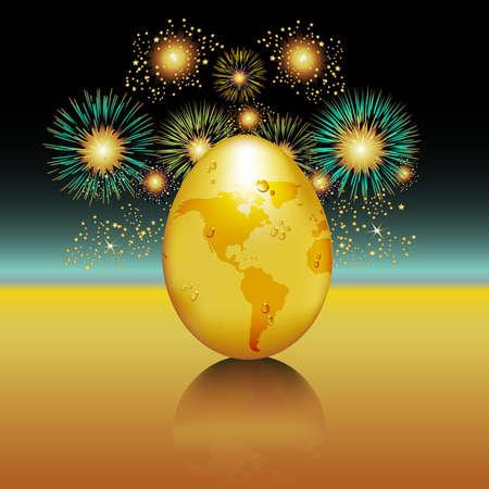 このお祭りのイメージと地球の日を祝います。機能、金の卵の形グローブ。 写真素材