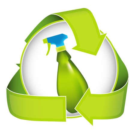 veneno frasco: Ilustrar no t�xicos los productos de limpieza con esta imagen moderna de la cocina pulverizador.
