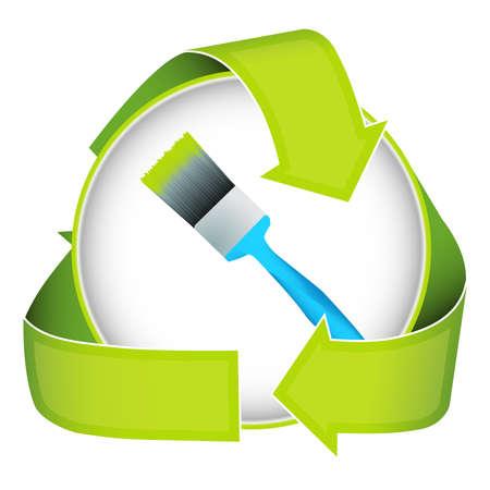 少ない有害な塗料の緑の隠喩。このイメージにゼロ揮発性有機化合物を示しています。