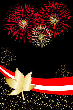 dominion: Canadian pride is illustrated in this event poster. Great for Canada Day fireworks invitations. Stock Photo
