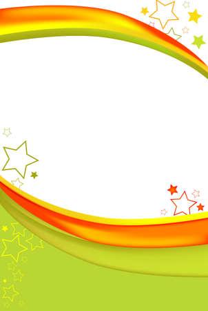 明るい緑とオレンジ色の背景。機能の星や色の華麗な光線。