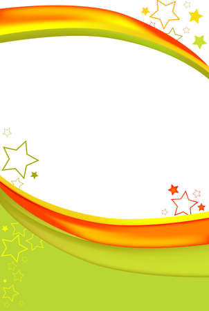 Bright green and orange background. Features stars and brilliant rays of color.