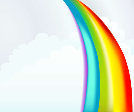 rainbow background: Colorful rainbow illustration with cartoon clouds. This background template is great for summer camp programs or bible stories. Stock Photo