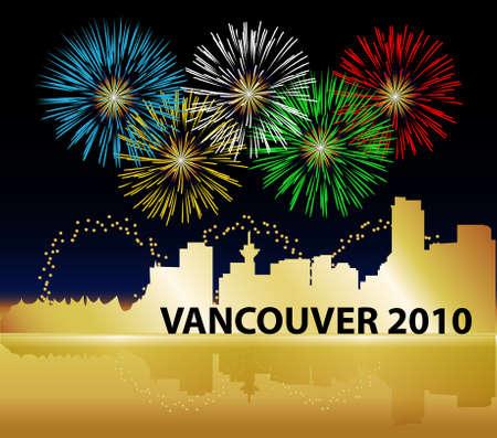 バンクーバー、ブリティッシュ ・ コロンビア、カナダの 2010 年のオリンピックを祝うため。オリンピック リングの色に輝く花火、スカイラインを 報道画像