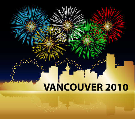 Celebrate the 2010 Olympics in Vancouver, British Columbia, Canada. Sparkling fireworks in the olympic ring colors decorate the skyline. Golden city silhouette is reflected in the bay.