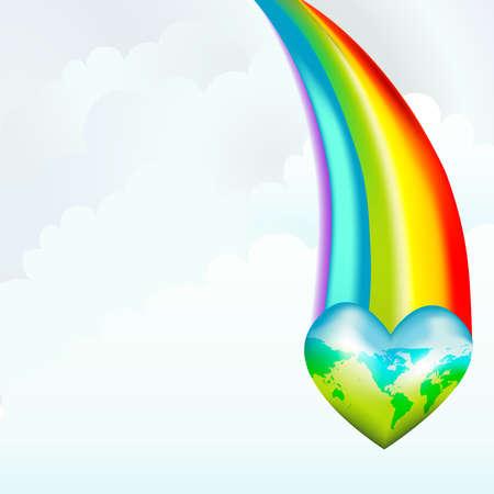 地球またはゲイ フレンドリーな世界を保存明るい虹を示す