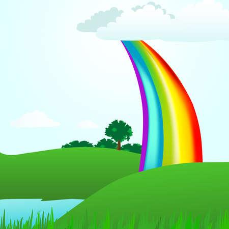 夏公園にかかる虹をアーチします。これは完璧な夏の日の風景イラストは草、木、湖です。 写真素材