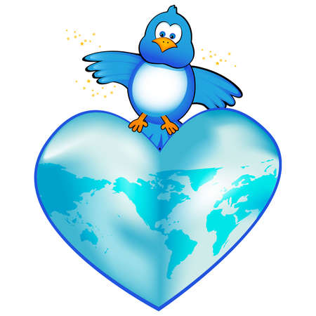 Twitter the world wide web with this blue bird icon. Isolated on white.