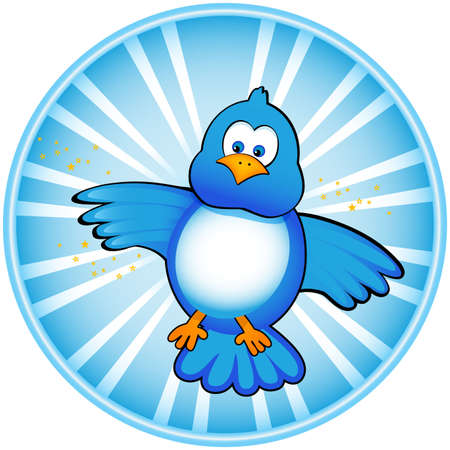 A cute blue bird icon perfect for twitter. Ask about ai format. Stock Photo