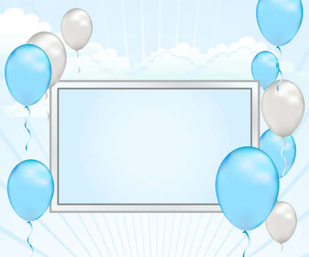 Celebrate good news with this pastel blue and silver shower announcement. photo