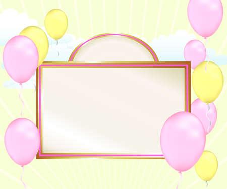 このパステル調ピンクと黄色のシャワー発表と良いニュースを祝います。