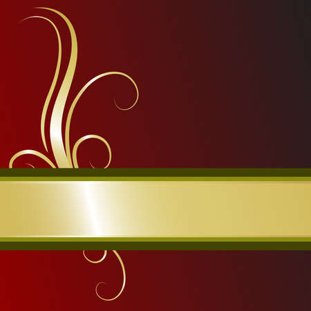 Christmas ribbon in gold and green dresses this festive filigree background
