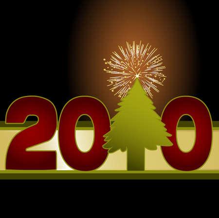 楽しい 2010年イメージ クリスマス ツリー花火爆発の星をトッピング ナンバーワンとして使用します。新しい年のお祝い、ポスターおよびテンプレー