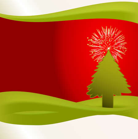 A fun illustration of a christmas tree on a red and green background. This unique fir tree is topped with a fireworks star. illustration