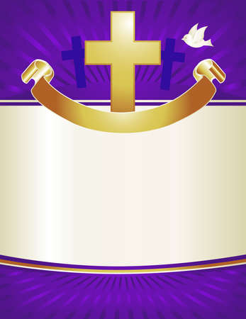 christian faith: A gold cross and dove with banner adorns this royal purple background. Perfect for Christmas or Easter pageant programs or posters.