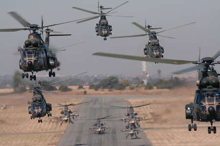 defense: 10 Helicopter formation Stock Photo