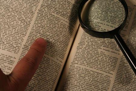 decipher: Searching, translating Stock Photo