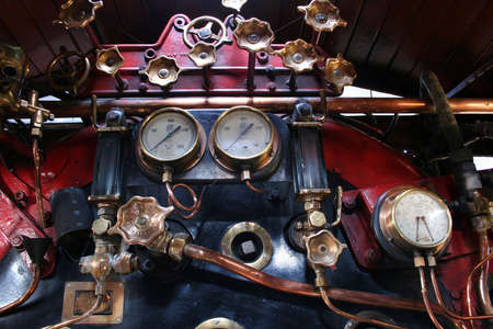 arrive: Steam engine guages Stock Photo