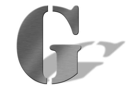 buffed: 3D Aluminum letters of the alphabeth. Isolated with shadow on white. Numbers also available. Stock Photo