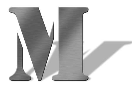 brushed aluminium: 3D Aluminum letters of the alphabeth. Isolated with shadow on white. Numbers also available. Stock Photo