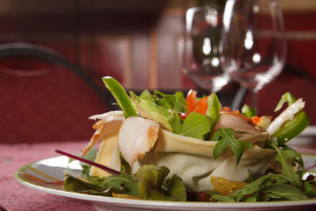 Salad served on a plate. Prepared by a professional chef. Stock Photo - 8723651