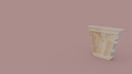 3d icon of ancient greece column head isolated on beige background