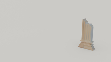3d icon of ancient greece column torso isolated on gray background