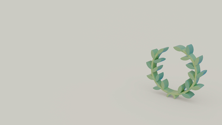 3d icon of green ancient laurel wreath isolated on light gray background