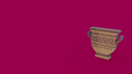 3d icon of ancient greek amphora isolated on magenta background