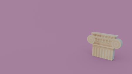 3d icon of ancient greece column head isolated on light violet background