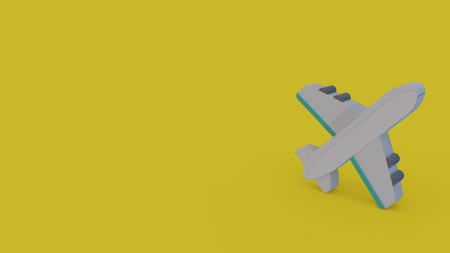 3d icon of gray airplane isolated on yellow background Banque d'images - 116011045