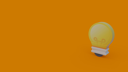 3d icon of yellow light bulb isolated on orange background Stock Photo