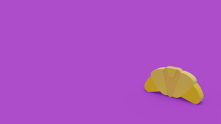 3d icon of yellow croissant isolated on violet background