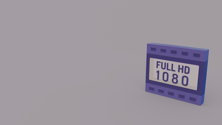 3d icon of violet film strip with 1080p full hd isolated on light violet background