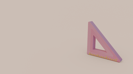3d icon of pink triangle ruler on light pink background Zdjęcie Seryjne