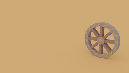 3d icon of ancient wooden windmill with eight spokes isolated on light brown background