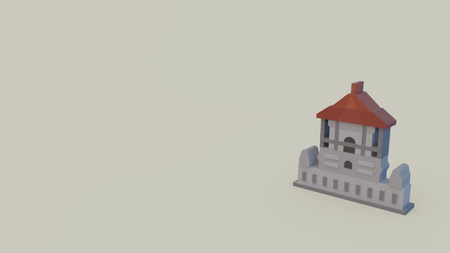 3d icon of independence memorial hall isolated on gray background