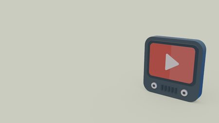 3d icon of tablet with youtube symbol on screen isolated on gray background Stock Photo