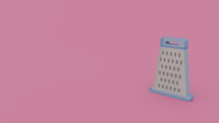 3d icon of gray grater isolated on violet background
